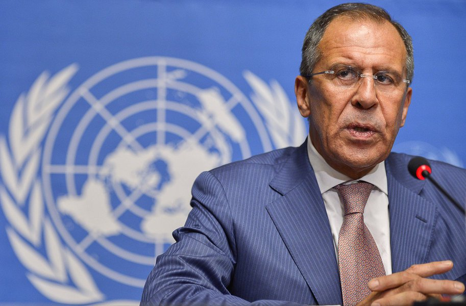 Russian Foreign Minister Sergei Lavrov speaks during a press conference at the United Nations' offices in Geneva on June 30, 2012,  after a ministerial-level meeting of world powers on Syria. Lavrov said any power transition in Syria would be decided by S