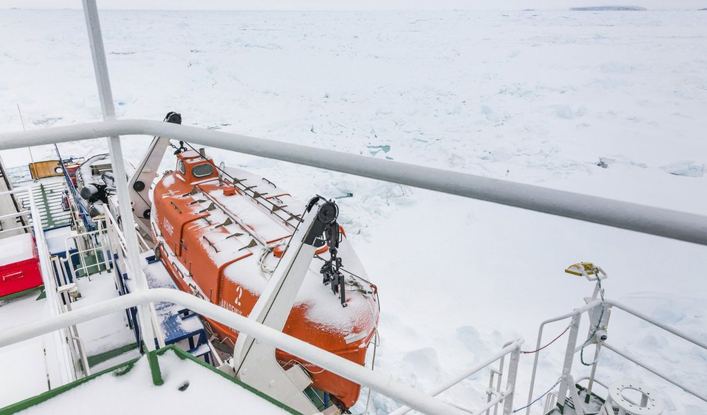 A thin coat of snow covers the deck of the trapped ship MV Akademik Shokalskiy in East Antarctica early December 29, 2013, some 100 nautical miles (185 km) east of French Antarctic station Dumont D'Urville and about 1,500 nautical miles (2,800 km) south o