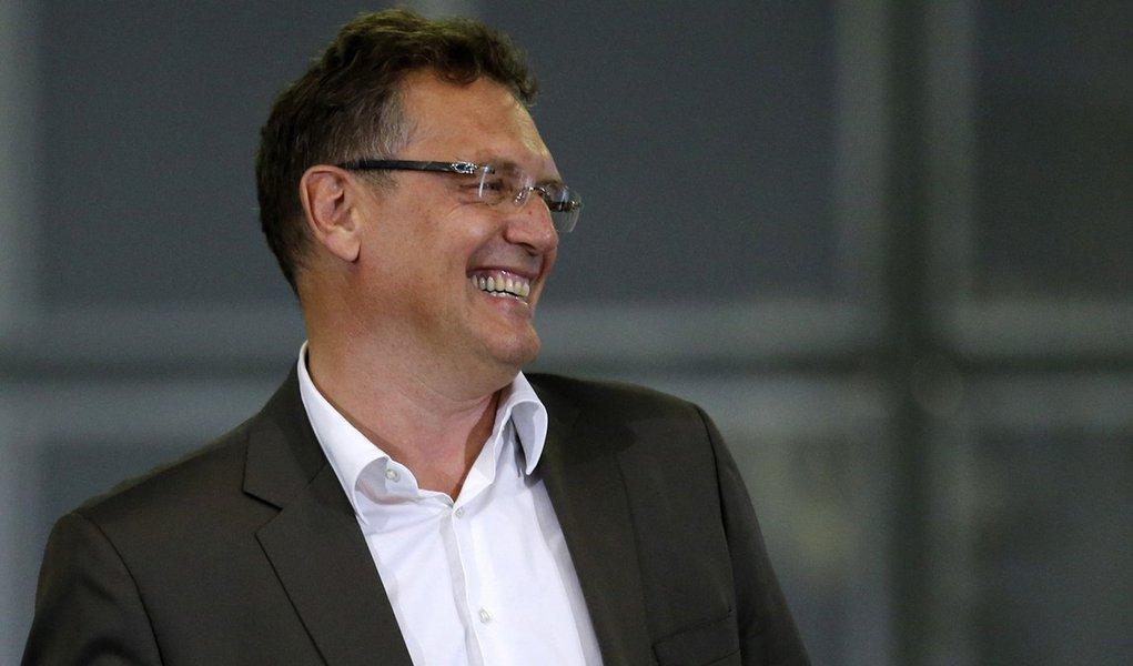 Secretário-geral da Fifa, Jérôme Valcke, durante cerimônia de inauguração do centro internacional de transmissões de TV (IBC, na sigla em inglês), zona oeste do Rio de Janeiro. Valcke afirmou nesta segunda-feira que a Copa do Mundo no Brasil já c