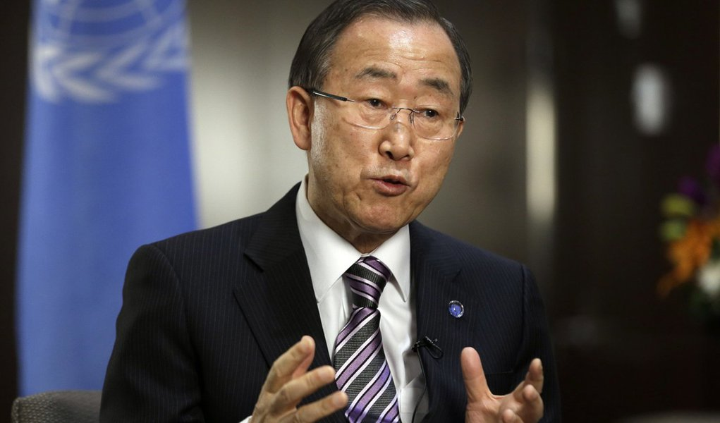 FILE - In this Jan. 11, 2013 file photo United Nations Secretary General Ban Ki-moon responds to questions during a news interview at the United Nations headquarters. Ban Ki-moon says his top hopes for 2013 are to reach a new agreement on climate change a