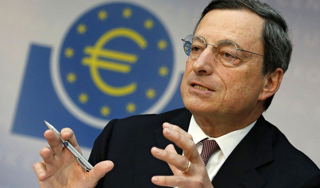 FILE - In this July 5, 2012 file photo President of the European Central Bank Mario Draghi speaks during a news conference in Frankfurt, central Germany.  Draghi said in an interview with French daily publication Le Monde posted on the bank's website Satu
