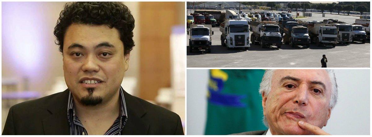 """""""O atual governo não tem legitimidade para negociar, dialogar ou fazer valer as leis. Os caminhoneiros sabem disso, as empresas de transporte sabem disso, os grandes produtores rurais e as indústrias sabem disso, a sociedade brasileira sabe disso"""", diz o jornalista Leonardo Sakamoto"""