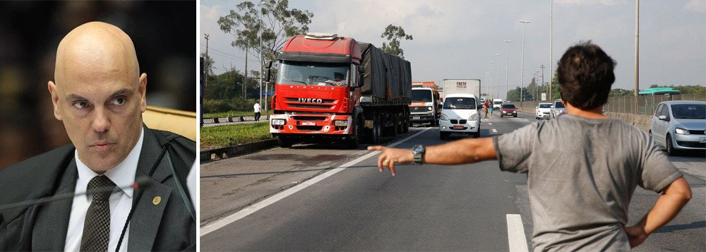 Ministro do Supremo Tribunal Federal (STF) Alexandre de Moraes aplicou multas a 46 transportadoras por descumprimento de decisão judicial para desobstrução de rodovias federais durante a greve dos caminhoneiros, informou a AGU nesta sexta-feira, 8; multas somam 506,5 milhões de reais e foram aplicadas com base em petição da AGU ajuizada na terça-feira no STF