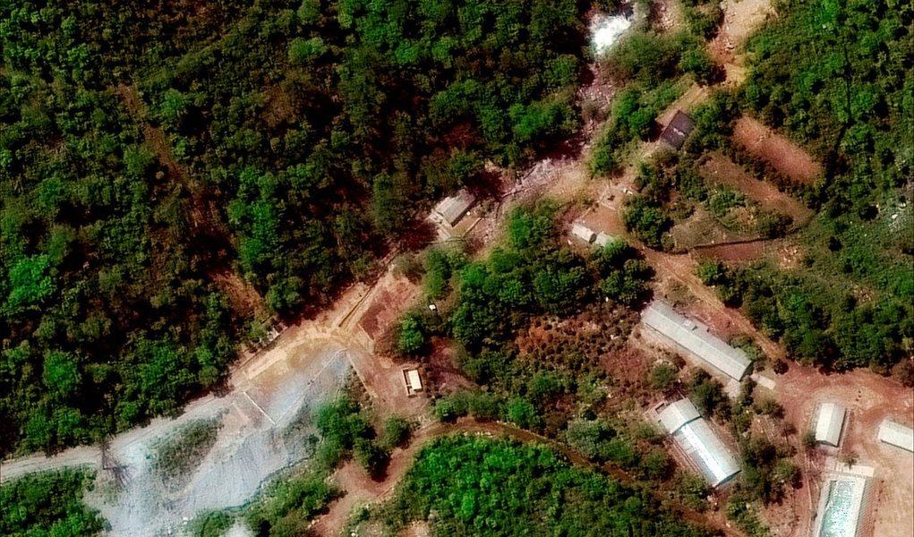 Imagem de satélite da instalação de testes nucleares norte-coreana de Punggye-ri em Hamgyong, Coreia do Norte 23/05/2018 ©2018 DigitalGlobe, a Maxar company/Divulgação via REUTERS
