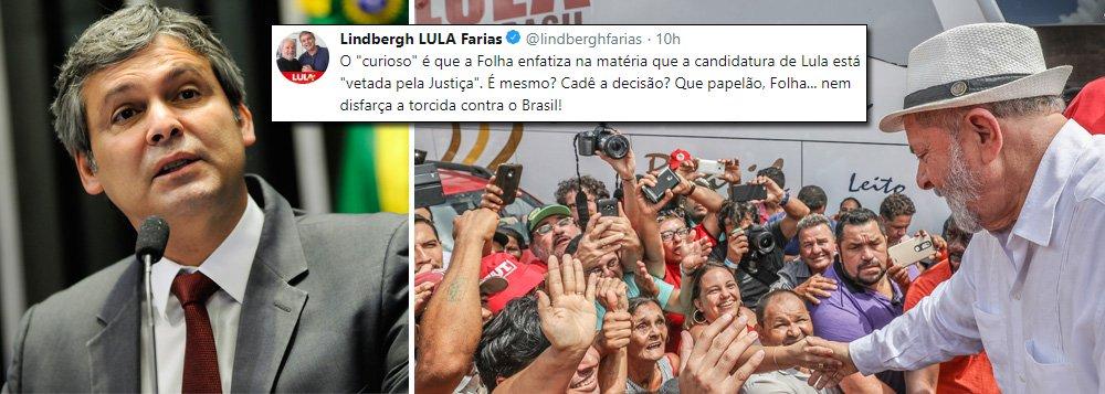 """Ao divulgar a pesquisa do Datafolha que aponta o ex-presidente Lula com 30% das intenções de voto, vencendo folgado as eleições presidenciais,a Folha de S. Paulo classificou o ex-presidente como """"vetado pela justiça"""" ; o senador Lindbergh Farias (PT-RJ) criticou a postura do jornal: """"É mesmo? Cadê a decisão? Que papelão, Folha, nem disfarça a torcida contra o Brasil"""", condena; além de Lula liderar as intenções, o Datafolha mostrou que 47% votam no candidato que ele apoiar"""