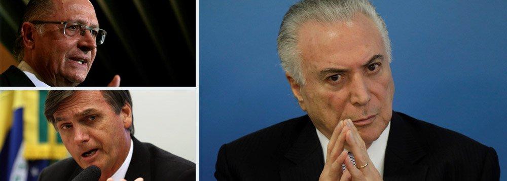 O editor do blog Tijolaço, Fernando Brito, pergunta-se como não chamar Alckmin e Bolsonaro como candidatos da situação, já que o partido de ambos votam com Temer em quase todas as matérias do Congresso? Brito afirma que o nível de adesão desses candidatos a Temer é de 70%, mais que o próprio MDB, partido do governo