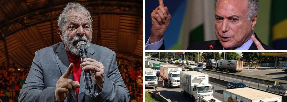 """O ex-presidente Lula, que está preso em Curitiba, criticou a maneira que o governo Michel Temer vem conduzindo a greve dos caminhoneiros contra o aumento no preço dos combustíveis e que paralisou o país ao longo da semana; segundo o líder da oposição na Câmara, José Guimarães (PT-CE), que visitou Lula na prisão, """"ele disse: a que ponto chegamos, o preço da gasolina, uma greve deste porte, cadê o governo, o governo não faz nada?"""""""