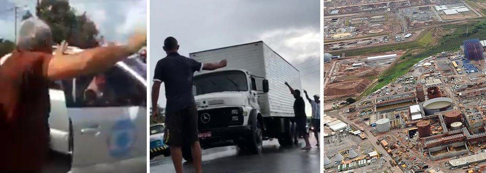 """Uma equipe de reportagem da TV Globo em Pernambuco foi expulsa a gritos de """"fora"""" por caminhoneiros em greve no Porto de Suape nesta sexta-feira 25; assista"""