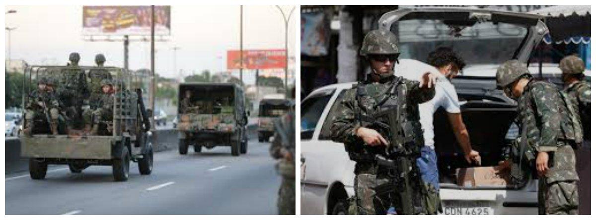 Dois militares do Exército e mais seis pessoas foram presas por policiais militares do 34° batalhão da Polícia Militar (Belford Roxo) no fim da noite desta segunda-feira (21), na Rodovia BR 493, altura do Distrito do Vale das Pedrinhas, em Guapimirim, na Baixada Fluminense; o grupo transportava armamento pesado, como espingarda, rifle, granadas e munição em um carro com placa clonada