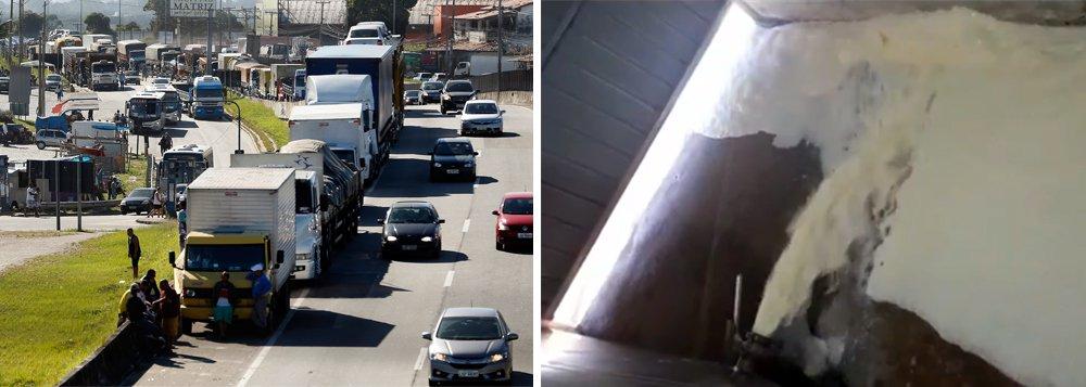 A alta do óleo diesel e a consequente greve dos caminhoneiros continuam jogando pressão em cima do governo Temer; na região de Passos, no Sul de Minas Gerais, por exemplo, cerca de 500 mil litros de leite foram jogados fora porque o produto se estraga facilmente; não há transporte para o produto