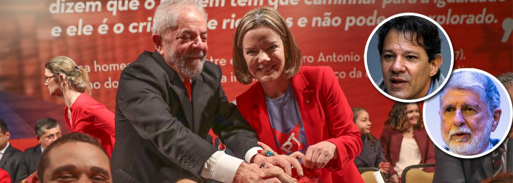 A senadora Gleisi Hoffmann discute hoje com governadores do PT a nomeação do candidato a vice-presidente para compor a chapa com Lula; a ideia de Gleisi e dos governadores é que o vice percorra o país falando em nome de Lula; Haddad, responsável pelo plano de governo, é um dos nomes cogitados; outro, o ex-chanceler Celso Amorim
