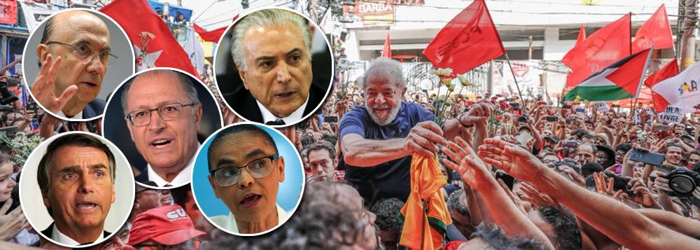 Pesquisa CNT/MDA divulgada nesta segunda-feira aponta que em um segundo turno com Jair Bolsonaro (PSL), Lula venceria com 63,8% dos votos, contra 36,2% do deputado federal; contra Marina Silva (Rede), a distância é maior: o petista venceria com 67,9%, contra 32,1% da ex-senadora; a vitória é ainda mais significativa quando o nome do ex-presidente é colocado contra Geraldo Alckmin, Henrique Meirelles e Michel Temer;mesmo preso, Lula lidera folgado no primeiro turno, com 32,4% dos votos