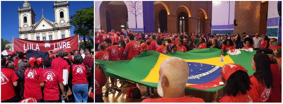 """Com faixa """"Lula Livre"""", bandeira do Brasil e roupa vermelha, multidão pediu liberdade a Lula a Nossa Senhora, numa vigília na cidade de Aparecida do Norte, em São Paulo; assista"""