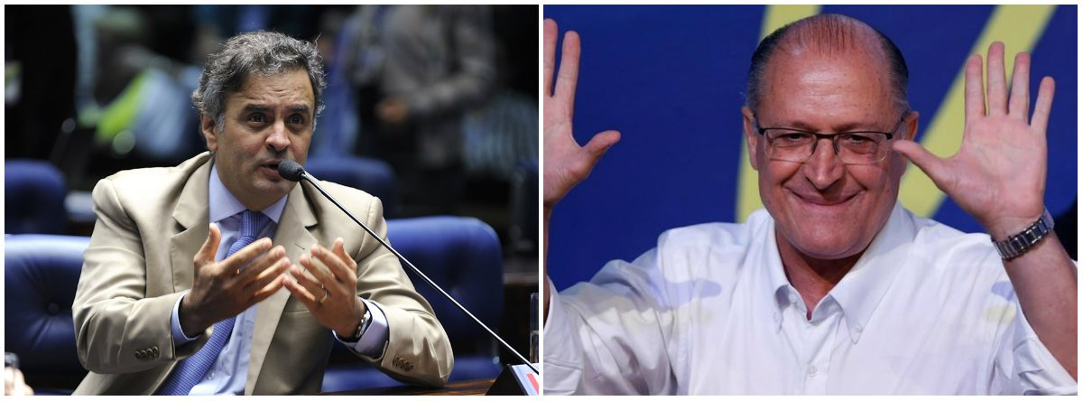 """Réu por corrupção no STF, o senador Aécio Neves (PSDB-MG) convocou a população a votar no presidenciável da sigla tucana, Geraldo Alckmin; """"Vamos reunir forças para fazer este Brasil mudar, vamos estar junto com Alckmin e acreditando sempre na ética, na responsabilidade e na competência na política"""", disse o parlamentar em vídeo publicado na internet"""