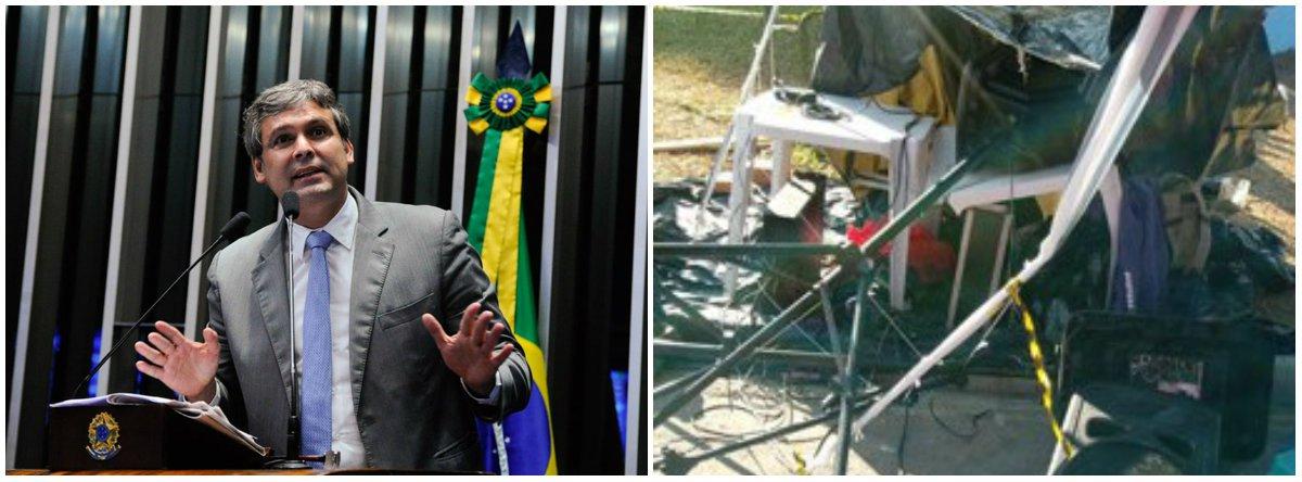 """Em vídeo, o senador Lindbergh Farias (PT-RS) cobrou o afastamento do delegado da PF Gastao Schefer Neto, autor do ataque ao acampamento em favor do ex-presidente Lula, nesta sexta-feira (4), durante o """"Bom Dia presidente Lula"""", em Curitiba (PR); o delegado quebrou o equipamento de som, usado para amplificar o bom dia; """"Acho que está havendo uma subestimação de setores importantes da sociedade com a escalada de violência política fascista. A PF tem que agir, afastar imediatamente este delegado, tem que abrir sindicância, no mínimo""""; assista"""