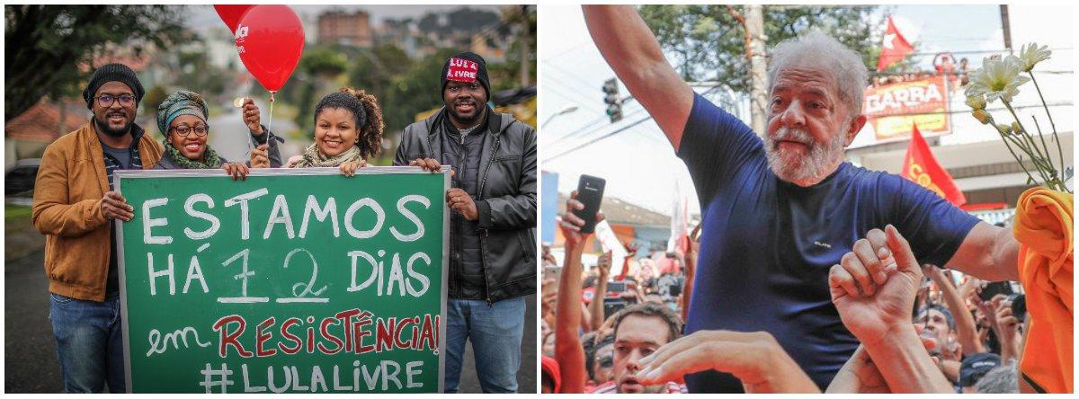O ex-presidente Lula se entregou à Polícia Federal no dia 7 de abril, mas continua recebendo o apoio de vários manifestantes com uma vigília próximo à sede da Polícia Federal no Paraná, onde ele se encontra preso; apesar de estar detido por ter sido condenado sem provas,ele é líder absoluto em todas as pesquisas eleitorais