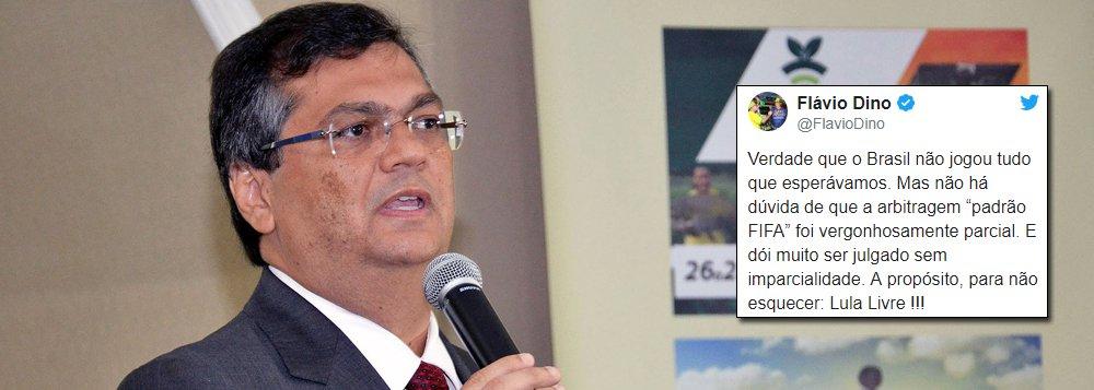O governador do Maranhão Flavio Dino afirma em seu Twitter que a seleção brasileira realmente não apresentou um bom futebol; Dino acrescenta que a arbitragem também deixou a desejar e cutucou os detratores de Lula: 'dói muito ser julgado com parcialidade'; o governador encerrou o tuíte pedindo Lula Livre!
