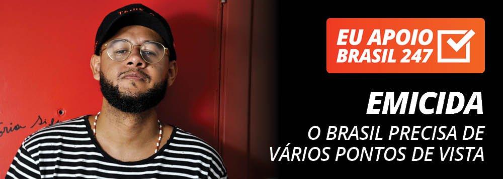 """O rapper Emicida apoia a campanha de assinaturas solidárias do Brasil 247. """"O Brasil precisa de vários pontos de vista, de uma mídia cada vez mais democrática para a gente construir o Brasil que a gente quer, o Brasil que a gente precisa, entendeu? Para isso, apoie a mídia independente, apoie a mídia democrática. Apoie o Brasil 247"""", defende ele em seu vídeo de apoio; assista"""