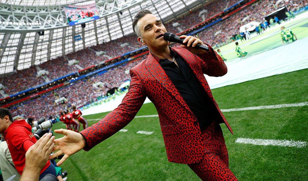 Robbie Williams na abertura da Copa do Mundo 14/06/2018 REUTERS/Kai Pfaffenbach