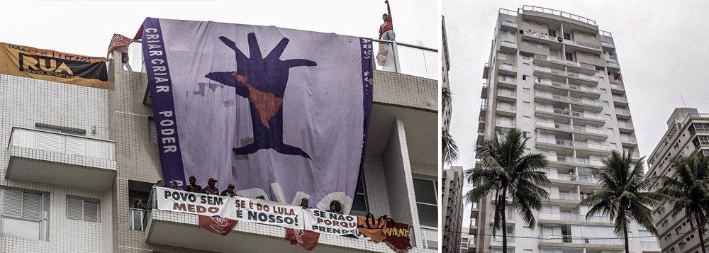 """Integrantes do Movimento dos Trabalhadores Sem Teto (MTST) e da frente Povo Sem Medo ocuparam nesta segunda-feira, 16, o triplex do edifício Solaris, no Guarujá, pelo qual o ex-presidente Lula foi condenado e cumpre pena, sem provas, na superintendência da Polícia Federal em Curitiba; """"Se é do Lula, o povo poderá ficar. Se não é, por que então ele está preso?"""", questionou o líder do MTST e presidenciável do PSOL, Guilherme Boulos;segundo Josué Rocha, coordenador do MTST que se encontra dentro do imóvel, a ocupação ocorreu sem problemas às 8h30 da manhã; """"Nosso objetivo é denunciar a farsa do processo que envolve o presidente Lula, que está preso há uma semana injustamente"""""""