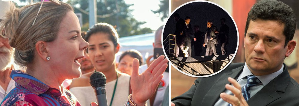 """Presidente nacional do PT, senadora Gleisi Hoffmann (PT-RJ), declara em entrevista ao jornal argentino Página 12 que a estratégia contra o ex-presidente, ao se negar visitas na prisão, é """"vencê-lo emocionalmente"""" e que Sergio Moro """"foi atropelado"""" por trancá-lo, uma vez que """"o país inteiro olha para Curitiba""""; sobre o atentado contra o acampamento, Gleisi lembrou que no mês passado a caravana de Lula já havia sofrido um atentado e avaliou que """"o clima de intolerância e violência contra o PT, a esquerda e os movimentos sociais é muito grave"""""""