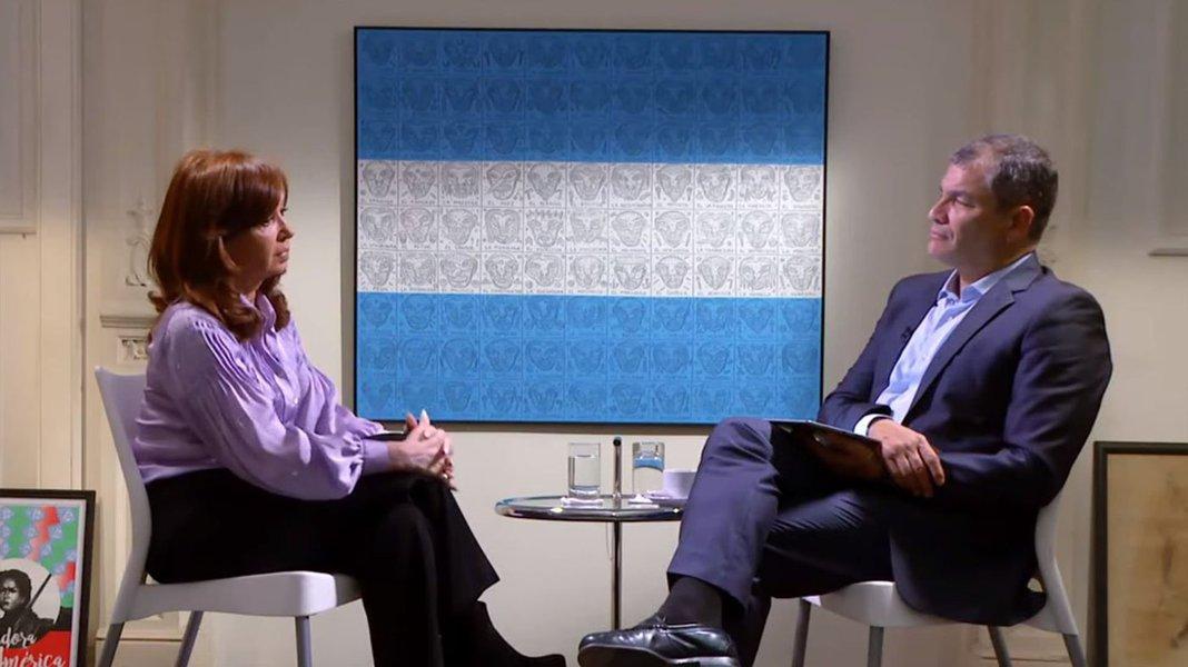 ex-presidente da Argentina Cristina Kirchner em entrevista a ex-presidente do Equador Rafael Correa pelo canal russo RT