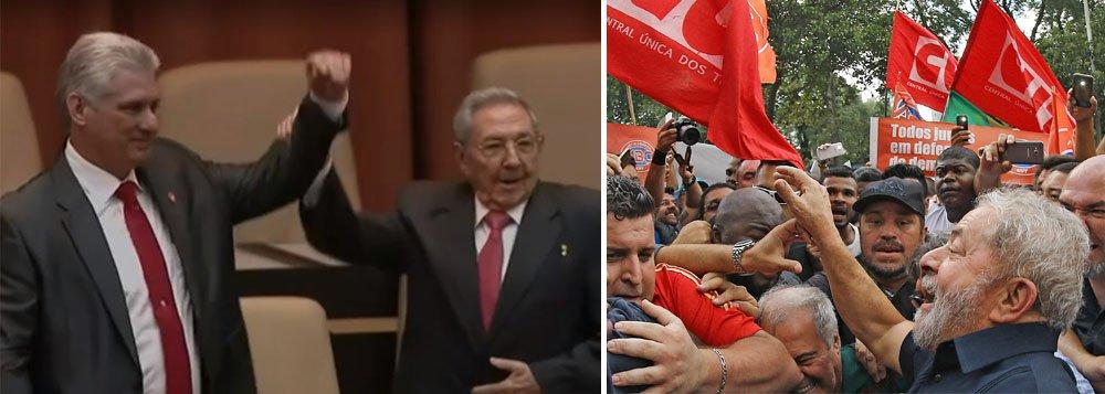 """Em seu discurso de despedida da presidência de Cuba, Raúl Castro criticou a prisão do ex-presidente seu amigo pessoal; """"Hoje [Lula está] submetido à prisão política para impedir que ele participe das próximas eleições presidenciais, já que segundo diferentes pesquisas, se houvesse eleições hoje, ninguém poderia ganhar de Lula"""""""