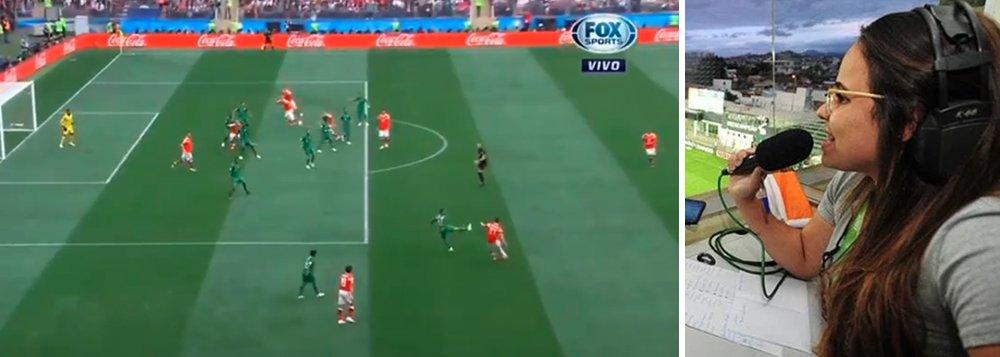O canal FoxSports inovou e colocou a primeira mulher da história do país a narrar uma Copa; a jornalista mineira Isabelly Morais estreou no jogo entre Rússia e Arábia Saudita, na abertura da Copa do Mundo e não faltou gol pra ela gritar, pois o jogo acabou 5 x 1 para os anfitriões; assista