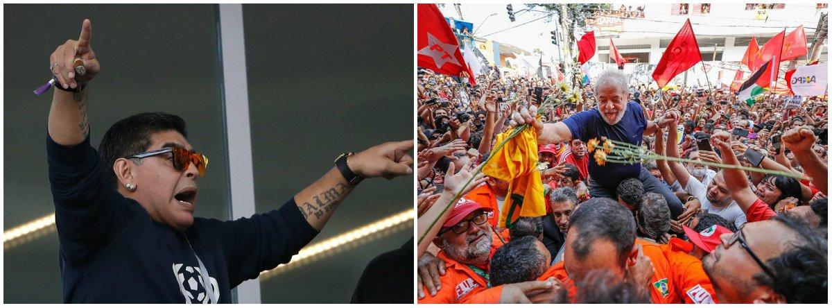"""A maior jogador da história da Argentina, Diego Maradona, voltou a manifestar seu apoio do ex-presidente Lula; """"Meu amigo Lula, tenha muita força porque você deu ao Brasil o que ele merece. Os corruptos, infelizmente, vencem algumas batalhas, mas as guerras dos países são vencidas por aqueles que realmente querem bem ao povo"""""""
