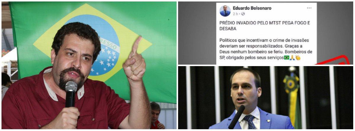 """Líder do MTST e presidenciável pelo Psol, Guilherme Boulos, compartilhou no Twitter um post do deputado Eduardo Bolsonaro (PSC-RJ), mas com a expressão """"fake-news""""; Boulos diz que o parlamentar """"tenta fazer uso político da tragédia. Irá responder judicialmente""""; segundo Bolsonaro, o prédio que desabou na cidade de São Paulo foi invadido por membros do MTST; depois, o congressista escreveu: """"Confundir o MTST com o MLSM (Movimento de Luta Social por Moradia) é o mesmo que confundir CV com PCC, no final das contas é tudo crime"""""""