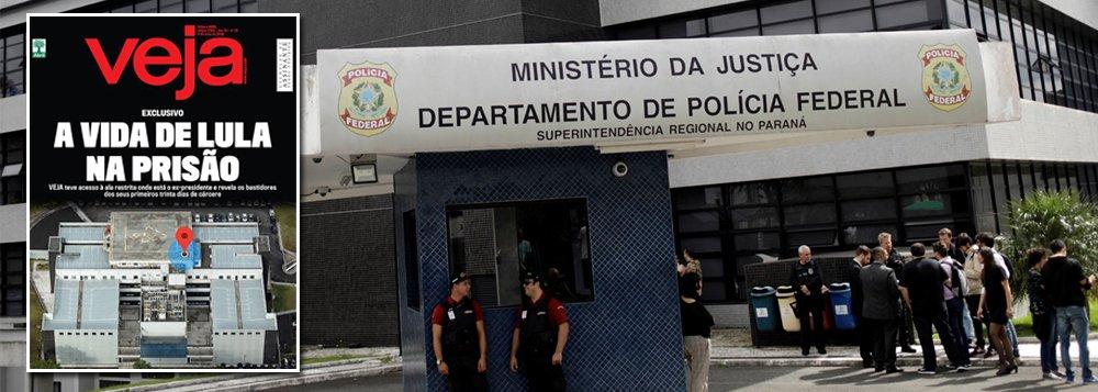 """A Polícia Federal do Paraná divulgou nota afirmando que a reportagem de capa da revista Veja que mostraria """"a vida de Lula na prisão"""" possui """"grande parte das informações equivocadas e imprecisas""""; outro trecho importante da nota informa queo jornalista que assina a matéria """"esteve presente no edifício da Superintendência Regional recentemente, onde participou de uma reunião com um servidor que não possui relação com quaisquer procedimentos relacionados à custódia"""""""