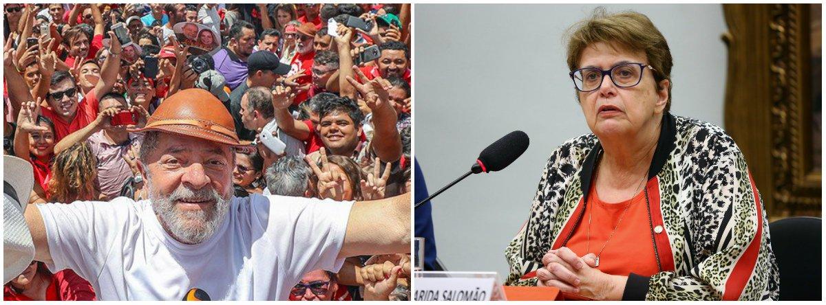"""Diante da iminente prisão do ex-presidente Lul, a deputada federa Margarida Salomão (PT-MG) foi mais afirmou que ele """"vai com o nosso amor, com a nossa solidariedade, com a nossa emoção. E nós, que ficamos aqui, temos a tarefa de lutar pela sua liberdade, lutar por justiça, lutar pela dignidade do povo brasileiro. Lutar pela democracia no Brasil""""; """"É preciso saber que Lula cumprindo a decisão judicial preserva a sua honra. A honra que, como lhe ensinou sua mãe, é a riqueza que tem mesmo os que não possuem nada"""", disse"""
