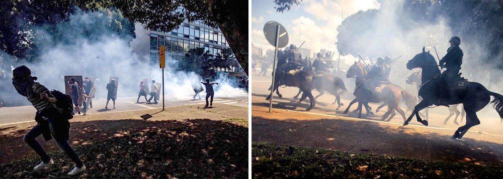 Polícia Militar do Distrito Federal reprimiu com truculência manifestação de estudantes da UnB, realizada nesta quinta-feira, 26, contra a política de cortes de recursos do governo de Michel Temer; protesto dos estudantes,pacificamente realizado na Esplanada dos Ministérios, foi reprimido com bombas de gás lacrimogênio e tiros de bala de borracha; assista ao momento em que a cavalaria da PM usa bombas contra os estudantes