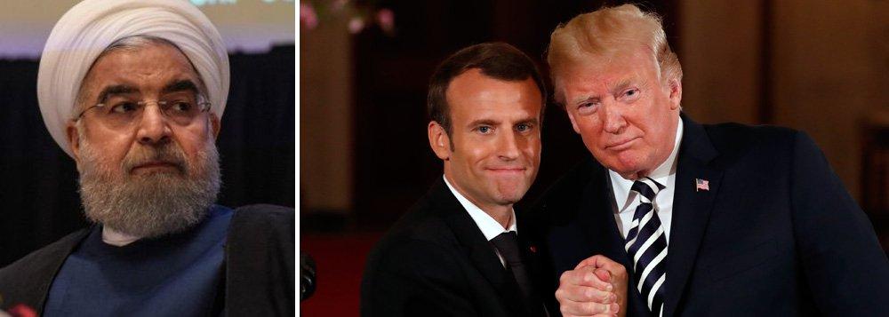 O presidente iraniano Hassan Rohani foi o primeiro a reagir, afirmando que Trump e Macron não têm o direito de rever um acordo concluído depois de negociações entre sete países