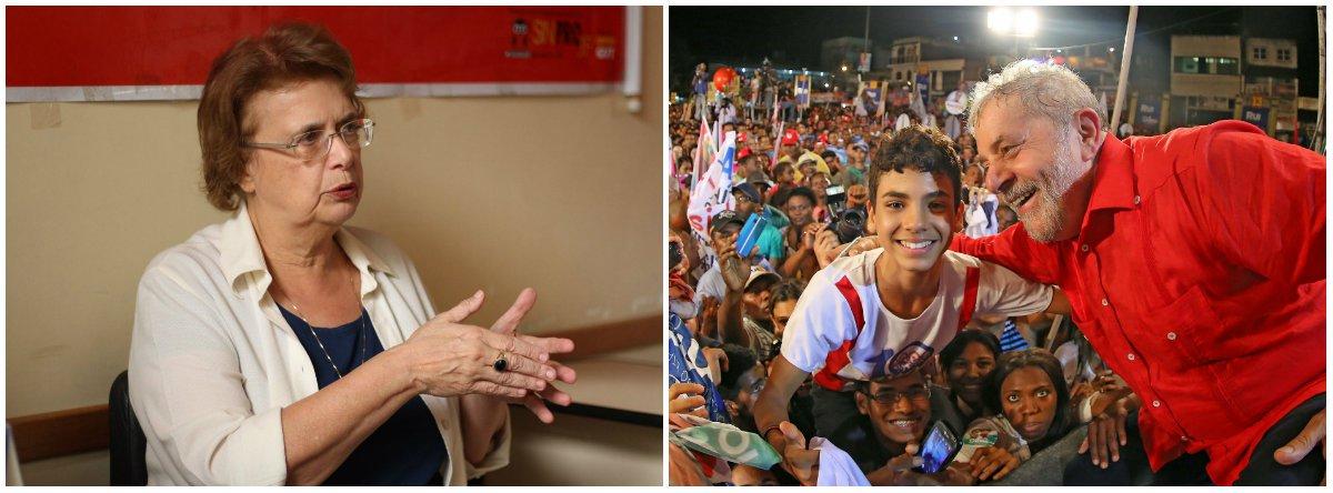 """""""HOJE TEM BRASIL Quando o Presidente Lula está em campo ele desequilibra qualquer jogo. Vamos rever uma goleada histórica? Lula do PT 6 X 0 Alckmin do PSDB"""", afirmou adeputada federal Margarida Salomão (PT-MG)"""
