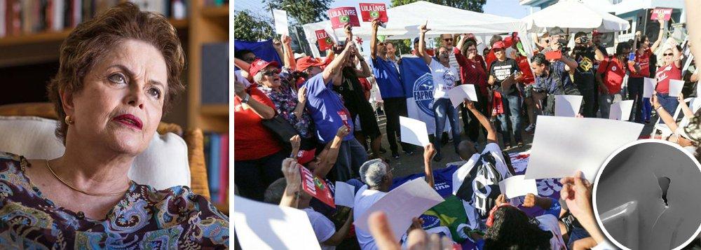 """Presidente deposta pelo golpe repudia atentado a tiros contra acampamento que defende a liberdade de Lula; """"Os golpistas de 2016 semearam ódio, covardia e violência. Alimentaram o fascismo que baleou a caravana de Lula no Sul, assassinou impunemente a líder mulher e negra, Marielle. Nessa madrugada dispararam + de 20 tiros contra o acampamento de apoio a #Lulainocente #Lulalivre"""", postou Dilma no Twitter;ela destaca que """"o regime de exceção é o ovo da serpente. É parido pelos golpes, alimentado com tiros em acampamento pacífico e cresce com o arbítrio da condenação e prisão em solitária de pessoa inocente, Lula"""""""