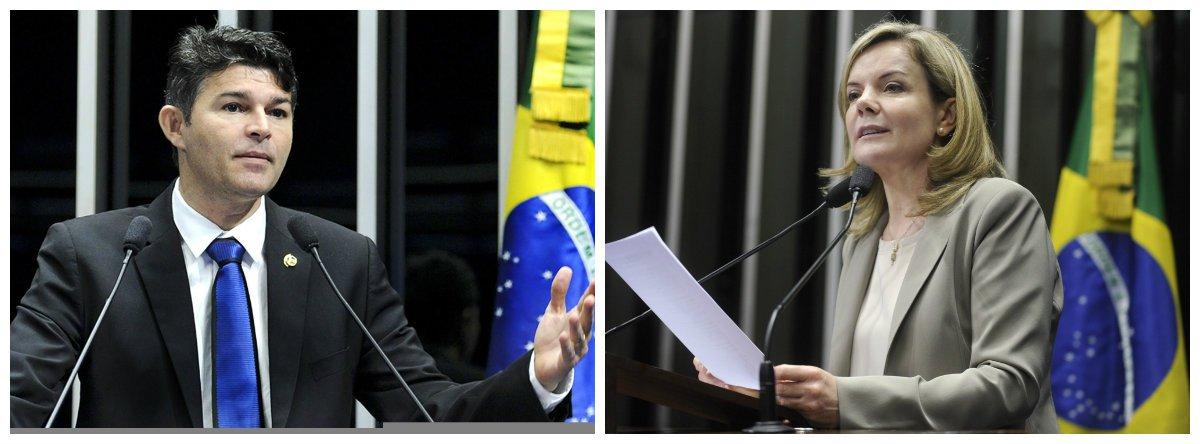 Senador José Medeiros (Podemos-MT) e senadora Gleisi Hoffmann (PT-PR) .2