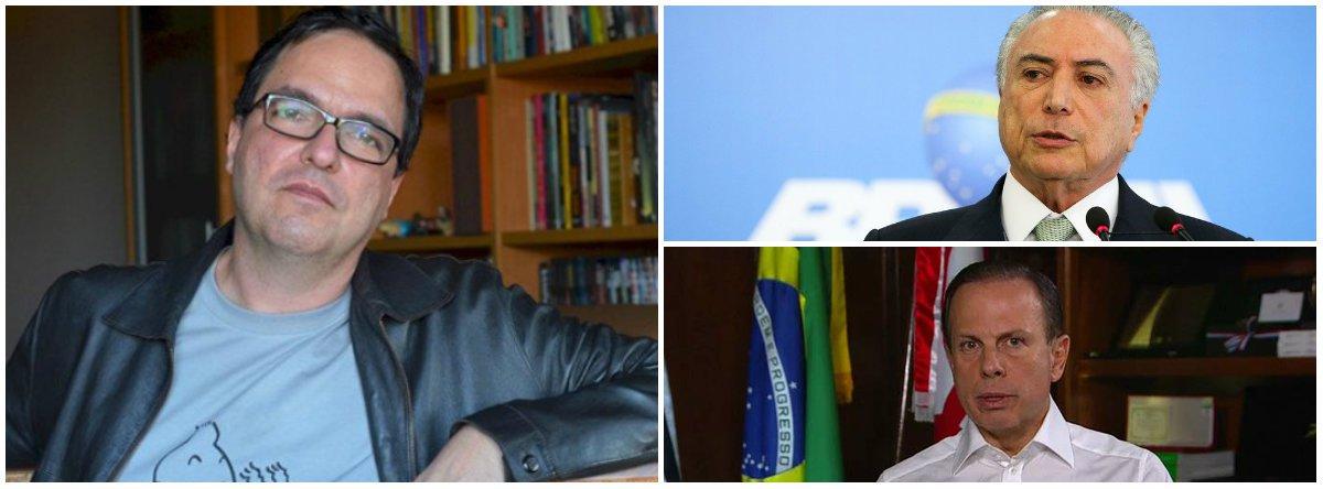 """Cientista político Luiz Felipe Miguel recorda que em novembro de 1979 o general João Figueiredo foi a Florianópolis numa tentativa de popularização, mas ele e sua comitiva """"apanharam do povo""""; """"O episódio passou à história como 'a novembrada'""""; """"Michel Temer recebeu sua cota de xingamentos, chutes e pedradas ao tentar visitar os atingidos pelo desabamento do prédio em São Paulo"""", acrescenta; """"Doria preferiu faturar politicamente escarnecendo das vítimas, a quem acusou de pertencer a uma 'organização terrorista'""""; """"Qual é mesmo a diferença entre Doria e Bolsonaro?"""""""