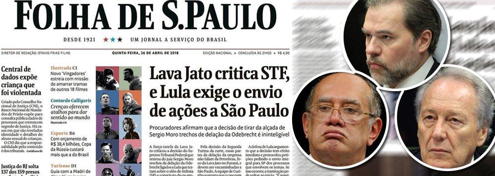 Depois da decisão tomada pelos ministros Gilmar Mendes, Dias Toffoli e Ricardo Lewandowski, que determinou que os processos do ex-presidente Lula sobre o sítio de Atibaia (SP) sejam julgados em São Paulo, e não no Paraná, retomando o princípio do juiz natural, como também deveria ter ocorrido no acaso do Guarujá (SP), os veículos de comunicação alinhados com o golpe de 2016, que trabalham pela prisão de Lula, líder em todas as pesquisas, passaram a tratar a Lava Jato como um poder soberano, acima do próprio STF, que não teria, portanto, a obrigação de se submeter às leis brasileiras; é o que faz, nesta quinta-feira, a Folha de S. Paulo