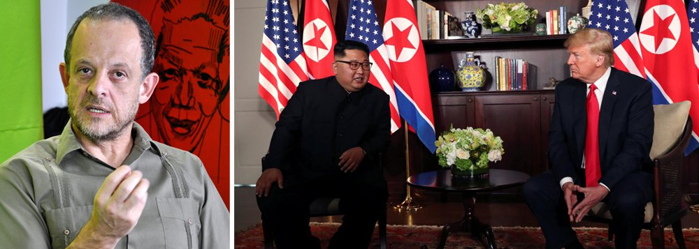 """O jornalista Breno Altman avalia o encontro do presidente dos Estados Unidos Donald Trump com o líder da Coreia do Norte Kim Jong-um; """"A Coreia do Norteconseguiu transformar sua capacidade militar e nuclear num instrumento de diplomacia, não tenhodúvidas que os Estados Unidos ficaram de joelhos"""", analisa; ele comenta ainda o cenário político nacional, como a pesquisa Datafolha e o problema da direita nas eleições; assista à íntegra"""