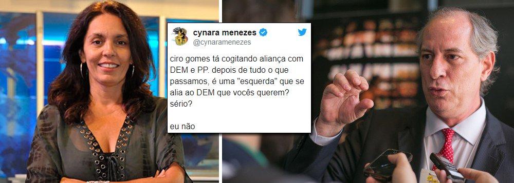 """A jornalista Cynara Menezes aponta, em seu Twitter, as contradições gritantes de um segmento que se diz de esquerda, mas que opera dentro de uma lógica conservadora; ela diz: """"Ciro gomes tá cogitando aliança com DEM e PP; depois de tudo o que passamos, é uma 'esquerda' que se alia ao DEM que vocês querem? Sério?""""; ela responde: """"eu não"""""""