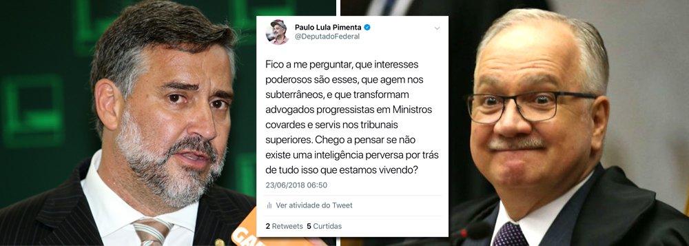 """""""Fico a me perguntar, que interesses poderosos são esses, que agem nos subterrâneos, e que transformam advogados progressistas em Ministros covardes e servis nos tribunais superiores. Chego a pensar se não existe uma inteligência perversa por trás de tudo isso que estamos vivendo?"""", postou o deputado Paulo Pimenta (PT-RS), depois que o ministro Luiz Fachin, do STF, manobrou para manter Lula preso"""