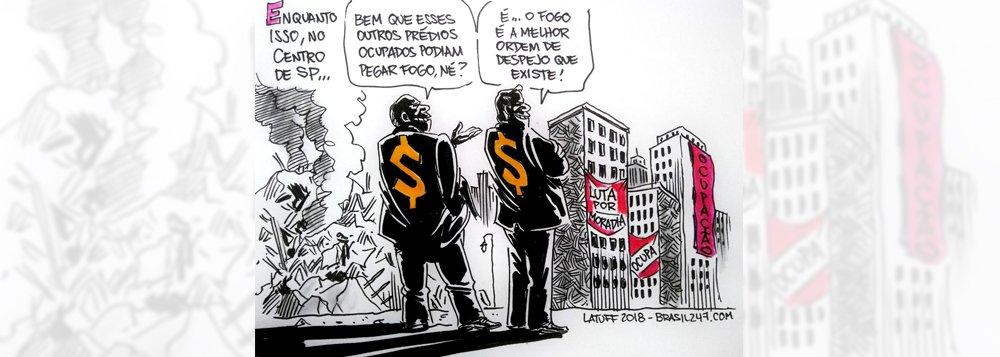 Na nova charge de Carlos Latuff, o descaso das autoridades e dos especuladores mobiliários com os movimentos de ocupação e o problema da moradia após a tragédia no Largo do Paissandu, no centro de São Paulo