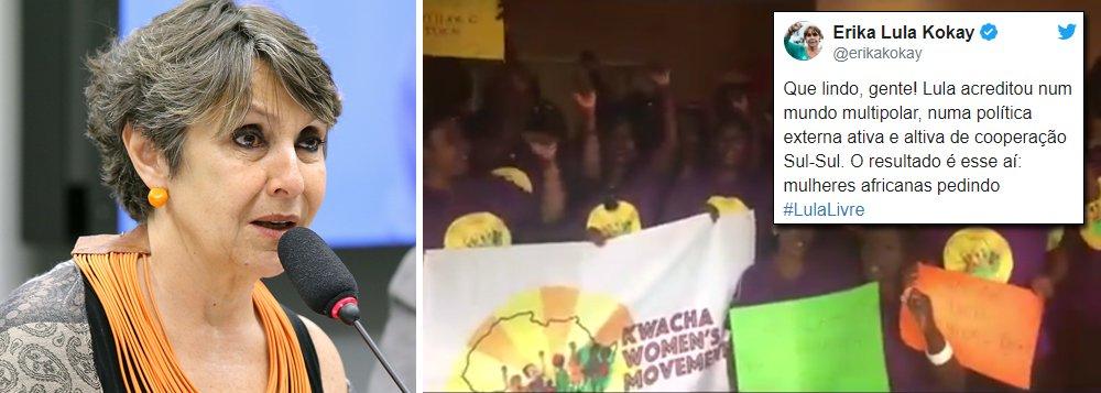 A deputada Érika Kokay registra em seu Twitter o apoio das mulheres africanas por Lula; a deputada ressalta que a crença, a política e o respeito que Lula dedicou à questão da reparação histórica que deveria ser dedicada à África, fez dele também um herói naquele continente