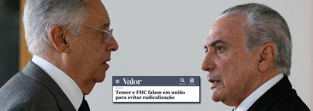 """O ex-presidente Fernando Henrique Cardoso, que foi um dos organizadores do golpe de 2016, que destruiu a economia e a imagem do Brasil no mundo, teve um encontro secreto com Michel Temer, no Primeiro de Maio; a intenção dos dois é articular a união do que chamam de """"centro"""" – na prática, o golpismo – nas eleições de 2018; como o golpe é um fiasco de público e de crítica, com resultados pífios na economia, todas as suas candidaturas, sejam de Geraldo Alckmin, Rodrigo Maia, Henrique Meirelles ou do próprio Temer não saem do chão; por isso mesmo, FHC, que governa o Brasil por meio de Temer, busca costurar uma união entre essas forças"""
