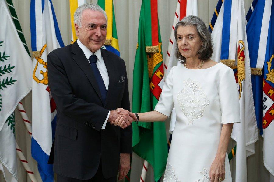 Michel Temer e Ministra Cármen Lúcia.
