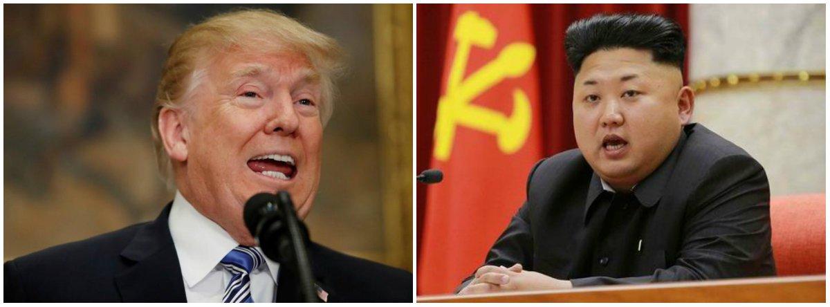 "O presidente americano, Donald Trump, chamou de ""muito honroso"" o líder norte-coreano, Kim Jong-un, e disse que a Coreia do Norte comunicou aos Estados Unidos que quer que a reunião entre ambos aconteça ""o mais rápido possível""; ""Kim Jong-un realmente foi muito franco e acredito que muito honroso"", disse Trump durante uma reunião com o presidente francês, Emmanuel Macron"