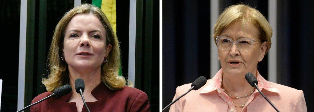 """Ao criticar uma entrevista da presidente do PT, Gleisi Hoffmann (PR), à TV Al Jazeera, a senadora Ana Amélia (PP-RS) disse esperar """"que essa exortação não tenha sido para convocar o Exército Islâmico a vir ao Brasil proteger o PT!""""; Gleisi respondeu: """"A senadora que incentivou a violência contra a caravana do Lula no Sul do país, mandando erguer o relho, agora externa seu preconceito e xenofobia com os árabes, ao me criticar por ter falado com a TV Al Jazeera. Entrevistas que dei com mesmo conteúdo a BBC, RTP, EFE não a incomodaram""""; assista ao discurso de Gleisi no Senado sobre o caso"""
