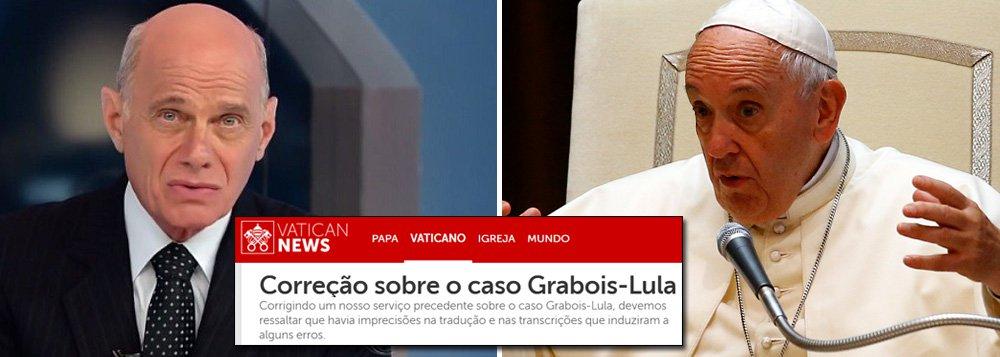 """Alheio à retratação do Vaticano, o jornalista Ricardo Boechat partiu para a baixaria contra o 247 nesta quarta-feira, 13; """"Tem um site que é um 248, 249, uma besteirada qualquer, [dizendo] 'religioso é impedido de entregar terço abençoado pelo Papa a Lula'. (...) Esse site e outros da mesma linha blá, blá, bla, 'depois de Lula, agora a imprensa brasileira censura o Papa', são uns malucos completos"""", disse ele em comentário na Band News; além da linguagem chula e preconceituosa, Boechat baseou seu ataque em uma nota do Vaticano que pouco tempo depois foi deletada e substituída por outra, que confirmaque o advogado Juan Grabois veio trazer a Lula um terço abençoado pelo pontífice assim como as palavras do Papa"""