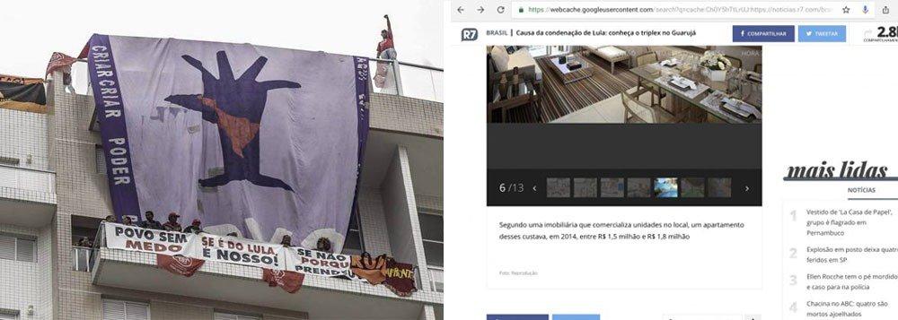 O site R7 apagou reportagem de julho de 2017, quando o apartamento em Guarujá (SP) atribuído ao ex-presidente Lula pela Operação Lava Jato foi mostrado de forma luxuosa; nesta segunda-feira (16), militantes do MTST provaram com imagens que a reforma milionária nunca foi feita e que o apartamento não tem nada de suntuoso; assista a um vídeo que mostra a parte interna do imóvel